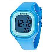 SYNOKE Niños Reloj de Pulsera Cuarzo Despertador Calendario Cronógrafo Resistente al Agua LCD Luminoso Plastic Banda Elegant Negro Blanco