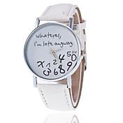 Mujer Reloj de Moda Cuarzo Reloj Casual PU Banda Reloj con palabras Negro Blanco Rojo Marrón Gris Caqui