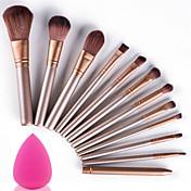 Los cepillos del maquillaje 12pcs fijaron con el artista de maquillaje cosmético suave del kit de la profesión de la esponja del soplo