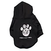 Gatos Perros Saco y Capucha Negro Ropa para Perro Invierno Primavera/Otoño Letra y Número Moda
