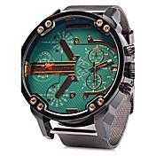 Hombre Reloj Militar Cuarzo Calendario Dos Husos Horarios Acero Inoxidable Banda Lujo Cool Plata