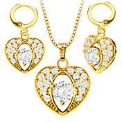 Mujer Juego de Joyas Collar / pendientes Cristal Bonito Fiesta Casual Amor Moda Boda Fiesta Diario Casual Cristal Oro Zirconio Cobre