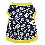 Gato Perro Camiseta Ropa para Perro Flores / Botánica Negro/Amarillo Algodón Disfraz Para mascotas Hombre Mujer Moda