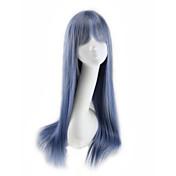 여성 인조 합성 가발 캡 없음 스트레이트 브라운 블루 실버 그레이 코스플레이 가발 의상 가발