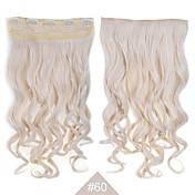 "Clip sintético en extensiones de cabello rubio de pelo de 24 ""(60cm) # 60 120g largas rizadas onduladas 5clips resistente"