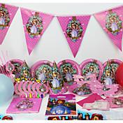 luksus sofia 78pcs birthday party dekorasjoner barna evnent partiet forsyninger fest dekorasjon 6 personer bruker