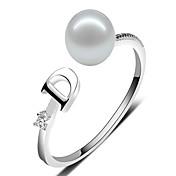Dame Perle crossover Parringer / Band Ring / Statement Ring - Perle, Sølv Personalisert, Vintage, Mote Justerbar Hvit / Lilla / Rosa Til Bryllup / Fest / Daglig / Avslappet
