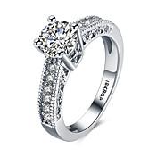 Dame Statement Ring Band Ring Hvit Syntetiske Edelstener Sølv Zirkonium Kubisk Zirkonium Hjerte Personalisert Kjærlighed Mote Bryllup