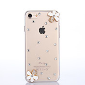 Para Funda iPhone 7 Funda iPhone 7 Plus Funda iPhone 6 Carcasa Funda Diamantes Sintéticos Cubierta Trasera Funda Flor Dura Policarbonato