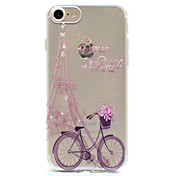 Funda Para Apple Funda iPhone 5 iPhone 6 iPhone 7 Diseños Funda Trasera Torre Eiffel Suave TPU para iPhone 7 Plus iPhone 7 iPhone 6s Plus