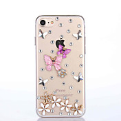 Para Funda iPhone 7 Funda iPhone 7 Plus Funda iPhone 6 Carcasa Funda Diamantes Sintéticos Cubierta Trasera Funda Mariposa Dura
