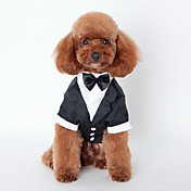Gato Perro Esmoquin Ropa para Perro Lazo Negro Algodón Disfraz Para mascotas Hombre Bonito Cosplay Boda