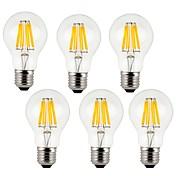 KWB 6pcs 7W 760lm E26 / E27 LED-glødepærer A60(A19) 8 LED perler COB Dekorativ Varm hvit Kjølig hvit 220-240V