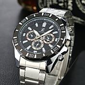 Hombre Reloj Deportivo Reloj de Vestir Reloj de Moda Reloj de Pulsera Cuarzo Acero Inoxidable Banda Cosecha Casual Blanco Blanco Negro