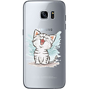 Funda Para Samsung Galaxy S7 edge S7 Ultrafina Transparente Diseños Funda Trasera Gato Suave TPU para S7 edge S7 S6 edge plus S6 edge S6