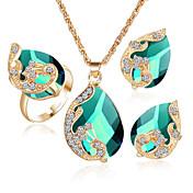 Mujer Cristal Conjunto de joyas - Cristal Corazón Incluir Rojo / Verde / Azul Para Fiesta / 3pcs / Anillos