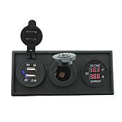12V / 24V de potencia puerto USB charger3.1a y el medidor de corriente amperímetro con el panel titular de la vivienda para rv del carro