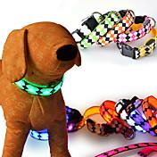 Hund Krave LED Lys Justerbare / Uttrekkbar Reflekterende Verneutstyr Blinke Pledd / Tern Geometrisk Tegneserie Nylon Gul Rød Grønn Blå