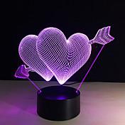 3D 7 색 변화 피어싱 마음 창조적 리모컨이나 터치 스위치가 선물로 램프를 장식 주도 야간 조명을 주도