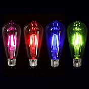 1 개 4W 350 lm E26/E27 LED필라멘트 전구 ST64 4 LED가 COB 장식 핑크 그린 블루 레드 220V-241V