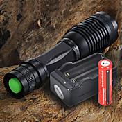 LED Lommelygter LED 1200 lm 5 lys tilstand med batteri og lader Justerbart Fokus Camping / Vandring / Grotte Udforskning / Dagligdags Brug / Sykling Svart