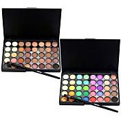 40 Color Eyeshadow (2 Color Set to Choose)+ 1 Eyeshadow Brush Sombras de Ojos Pinceles de Maquillaje Seco Mate Brillo Ojo Rostro