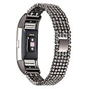 para las mujeres reloj inteligente de reemplazo manera de la venda Fitbit carga 2 de lujo de estilo de acero de grano muñeca mujer pulsera
