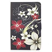 삼성 갤럭시 탭 9.6 케이스 커버 플라워 패턴 카드 스텐 트 지갑 푸 피부 소재 플랫 보호 쉘