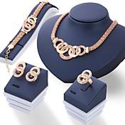 Mujer Conjunto de joyas - Brillante Diseño Único Incluir Dorado / Plata Para Boda / Fiesta / Diario / Anillos / Pendientes / Collare