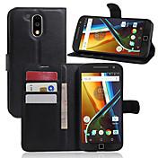 Etui Til Moto G Motorola Moto Nexus 6 Kortholder Lommebok Støtsikker med stativ Heldekkende etui Helfarge Hard PU Leather til Moto Z Moto