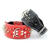 Perro Cuello Ajustable / Retractable Tachonado Remache Un Color piel genuina Negro Rojo
