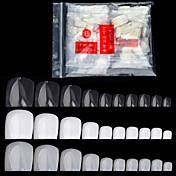 500 PC / el dedo falso de acrílico artificial falso del paquete clava las extremidades el dedo del pie transparente blanco natural de las