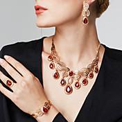 Mujer Zirconia Cúbica Brillante Oro de 18 K Lujo Conjunto de joyas 1 Collar 1 Par de Pendientes 1 Brazalete 1 Anillo Pulsera Pendientes