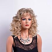 Mujer Pelucas sintéticas Sin Tapa Medio Rizado Rubio Con flequillo Peluca natural Las pelucas del traje