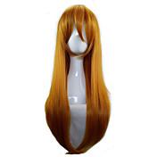 Mujer Pelucas sintéticas Sin Tapa Largo Liso Naranja Peluca de cosplay Las pelucas del traje