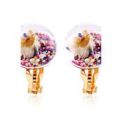 여성용 귀걸이 클러치 (뒷장식) 클립 귀걸이 공 귀걸이 플라워 스타일 꽃 동그란 플로럴 패션 Rock 여러 가지 착용 무지개 레진 Flower Shape 보석류 제품 데이트 거리 생일 파티 캐쥬얼/데일리 클럽