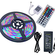 HKV 5 m Sets de Luces 300 LED 3528 SMD RGB Control remoto / Cortable / Impermeable 100-240 V / IP65 / Auto-Adhesivas