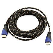 Høyhastighets HDMI kabel 1.4V støtte 3d for smart ledet hdtv, apple tv, blu-ray dvd (5 m)