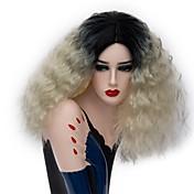 Mujer Pelucas sintéticas Sin Tapa Medio Rizado Rubio Pelo Ombre Peluca natural Las pelucas del traje