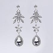 Mujer Pendientes cortos Pendientes colgantes Pendients de aro Cristal Floral Perla gris Joyas Navidad Boda Fiesta Cumpleaños Pedida