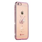 Funda Para Apple iPhone 6 iPhone 6 Plus Diamantes Sintéticos Cromado Traslúcido Funda Trasera Animal Suave TPU para iPhone 6s Plus iPhone