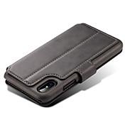 Etui Til Apple iPhone X iPhone 8 iPhone 8 Plus iPhone 7 Kortholder Lommebok med stativ Flipp Magnetisk Heldekkende etui Helfarge Hard PU