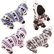 강아지 후드 점프 수트 스웨터 겨울 의류 강아지 의류 면 겨울 모든계절/가을 캐쥬얼/데일리 순록 그레이 커피 블루 핑크 표범 애완 동물