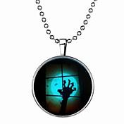 여성용 체인 목걸이 보석류 Circle Shape 은 도금 Illuminated 보석류 제품 Halloween