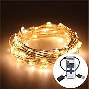 5 m Lysslynger 100 LED Varm hvit / RGB / Hvit Fjernkontroll / Mulighet for demping / Vanntett <5 V / IP65 / Fargeskiftende