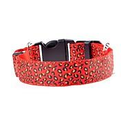 Hund Krave Led Lys Blinke Leopard Terylene Lilla Gul Rød Grønn Blå