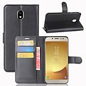 Etui Til Samsung Galaxy J7 (2017) J3 (2017) Kortholder Lommebok Flipp Heldekkende etui Helfarge Hard PU Leather til J7 (2017) J7(2016) J7