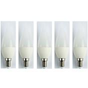 5pcs 3W 225lm E14 Bombillas LED de Globo C35 5 Cuentas LED SMD 3528 Blanco Fresco 110-240V