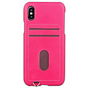 Etui Til Apple iPhone X iPhone 8 iPhone 6 iPhone 7 Plus iPhone 7 Kortholder Bakdeksel Helfarge Hard PU Leather til iPhone X iPhone 8 Plus