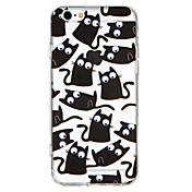 Funda Para Apple iPhone 7 iPhone 6 Traslúcido En Relieve Manualidades Cubierta Trasera Gato Animal Dibujo 3D Dura Policarbonato para